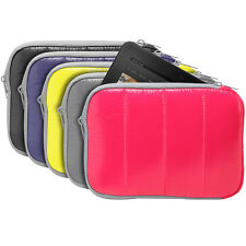"""7"""" 8"""" Quilted Nylon Soft Sleeve Zipper Bag Case Stand Pouch For Tablet eBook PC"""