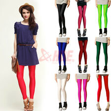 Womens Candy Shiny Bright Neon Fluorescent Leggings Stretch Tights Pants XS S M