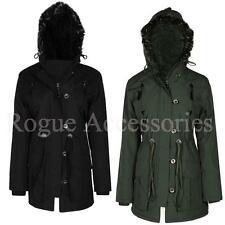 PU Trim Fur Hood Padded Womens Winter Parka Coat Jacket Plus Size 10-24  Womens