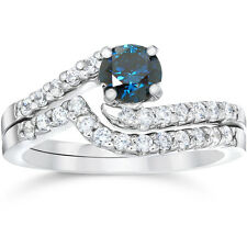 .75CT Blue & White Diamond Engagement Matching Wedding Ring Set 14K White Gold