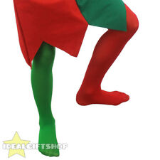 CHILD ELF TIGHTS BOYS GIRLS CHRISTMAS COSTUME ACCESSORY GREEN RED PANTO JESTER