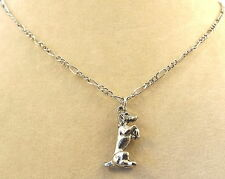 Pewter Begging Dog Pendant on a Silver Tone Figaro Chain Necklace
