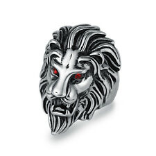 316L Stainless Steel Men's Lion Red Crystal Ring Jewelry D459 Size 8 9 10 11 12