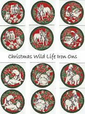 Christmas Holiday Animal  Fabric Iron On Appliques Quilting Sewing Crafts