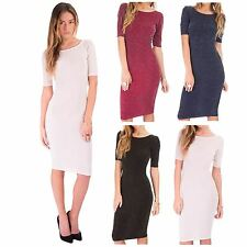 Women Jersey Glitter/Metallic Bodycon/Stretch Midi Party Dresses/Skirts
