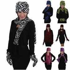 Women's 3-Piece Fleece Polyester Animal Print Scarf Gloves & Hat Assorted Colors