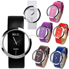 B20E Womens Synthetic Leather Transparent Dial Wrist Watch Wristwatch Fashion