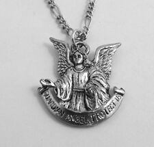 Pewter Guardian Angel Charm on Silver Plated Figaro Necklace