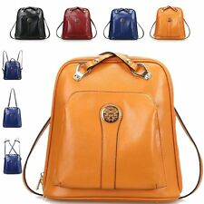 Retro Multi Carry Way Double Zipper  Women Genuine Leather Backpack Shoulder Bag