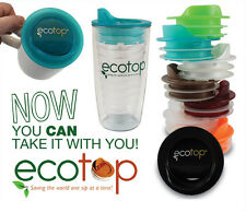 """EcoTop 3"""" Inch Lid Top Cup Mug Cover Travel Coffee Tea Spill-Proof Eco-Friendly"""