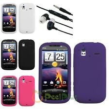 Black/White/Pink/Purple Rubber Skin Soft Case Cover For HTC Amaze 4G+Headset