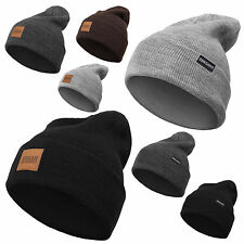 Urban Classics Leatherpatch Long Beanie Winterhat Flap Unisex Trendy