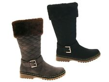WOMENS QUILTED FUR LINED CUFF WINTER SNOW BOOTS FLAT GIRLS LADIES SHOES SIZE 3-8