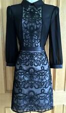 KAREN MILLEN BLACK GRAPHIC LACE EMBROIDERY DRESS BNWT UK 8, 12,
