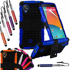 Heavy Duty Shockproof Stand Hard Back Case Cover & Pen For LG Google Nexus 5