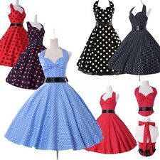 Vintage 50's Polka Dot Rockabilly Swing Prom Mini Cocktail Dress Hot IN 7Colors