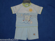 Baby boys cute little ted and fishes t-shirt and shorts set. 0-3 & 3-6 months