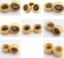 Pair (2) HAND Carved Wood Double Flare Hollow Ear Plugs Tunnels Earlets PLUG 116
