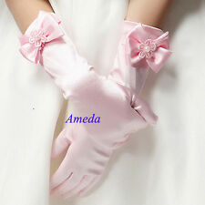 Kids Light Pink Satin Long Gloves Bridesmaid Pageant Wedding Flower Girl Party