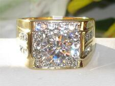 TK760pb CZ AAA GRADE CUBIC ZIRCONIA MENS RING STAINLESS STEEL18KT GOLD  5CT MANS