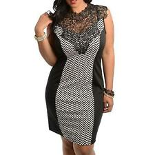 PD11 -1XL 2XL 3X Plus Size Lace Chevron Zig Zag Color Block Cocktail Dress Black