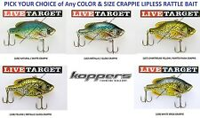 Koppers Live Target Crappie Lipless Rattle Trap Bait Any Color Size CPV Lure