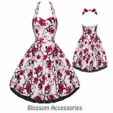 RKH2 Hearts & Roses Pink Floral Rockabilly Formal Evening Dress 50s Retro Plus