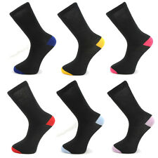 6 0R 12 PAIRS MENS ADULTS BLACK COTTON SOCKS WITH COLOURED HEELS & TOES 6-11