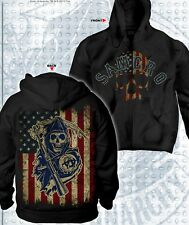 AUTHENTIC SONS OF ANARCHY SAMCRO AMERICANA USA FLAG REAPER SOA HOODIE S-3XL