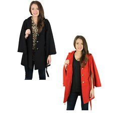 Jessica Simpson Women's Faux Wool Cape Coat Hooded Jacket
