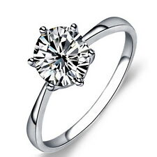 Solid 925 Sterling Silver Created Diamond Women's Solitaire Engagement Ring R120