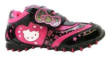 Girl's Hello Kitty Napoleon Classic Black & Pink Polka Dot Velcro Trainers New
