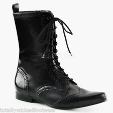 Demonia Brogue 10 Mens Black Pointy Toe Dress Lace Up Ankle Boot Goth 8-13
