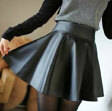 Fashion Cool Red Black Women High Waist Skirt Pu Leather Mini Short Dress