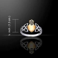 Irish CLADDAGH & Celtic Knotwork Silver & Gold Plated Heart RING Size Selectable