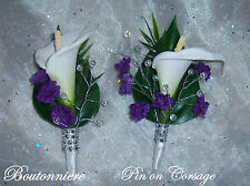 Wedding Bouquets, Calla Lily CORSAGE / BOUTONNIERE Your colors Flowers w/Bling