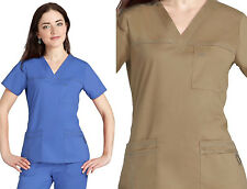 Womens Vneck 3-Pocket Sporty STRETCH Medical Nursing Uniform Scrub Top 12 COLORS