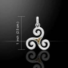 Celtic Triskele Silver and Gold Accent Trinity Knot Pendant