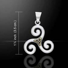 Irish Celtic TRISKELE Silver and Gold Accent Sterling Silver PENDANT