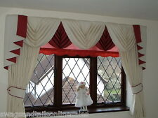 """WINDSOR"" CREAM SWAGS & TAILS+CURTAINS SETS, FITS WINDOWS 61"" to 105""(155-267cm)"