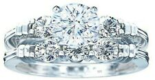 2 ps real  925 sterling silver AAA CZ Women's Wedding Engagement Ring Sz 4-11,5
