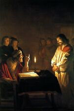 CHRIST BEFORE THE HIGH PRIEST CANDLE LIGHT PAINTING BY GERRIT HONTHORST REPRO