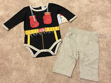 Baby Boys Boxing Little Champ Boxer Outfit & Pants NWT 3 6 9 Months