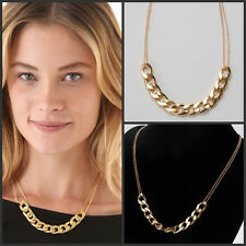 Stylish Bib Choker Necklace Aluminium Alloy Light Gold Chunky ID Curb Chain Link