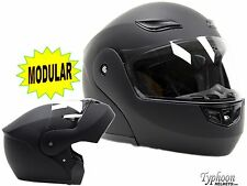 Adult Flip Up Modular Full Face Motorcycle Helmet DOT Matte Black