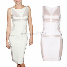Women Rayon white sexy hollow out stretchy New come bandage evening Dress HL456