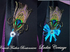 PEACOCK FEATHER CORSAGE / BOUTONNIERE Your colors ribbons