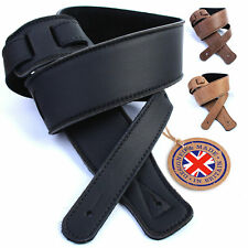 Real Leather Guitar Strap: Ultrasoft/padded, UK made 130cm Electric Acoustic