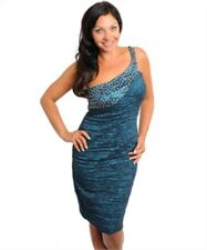 Teal Sequined One Shoulder Ribbed Bodycon Cocktail Dress Formal 2X 3X New Plus