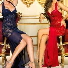 Girl Sexy Lace Halter Lingerie Full Evening Dress Backless Gown M - L M2511